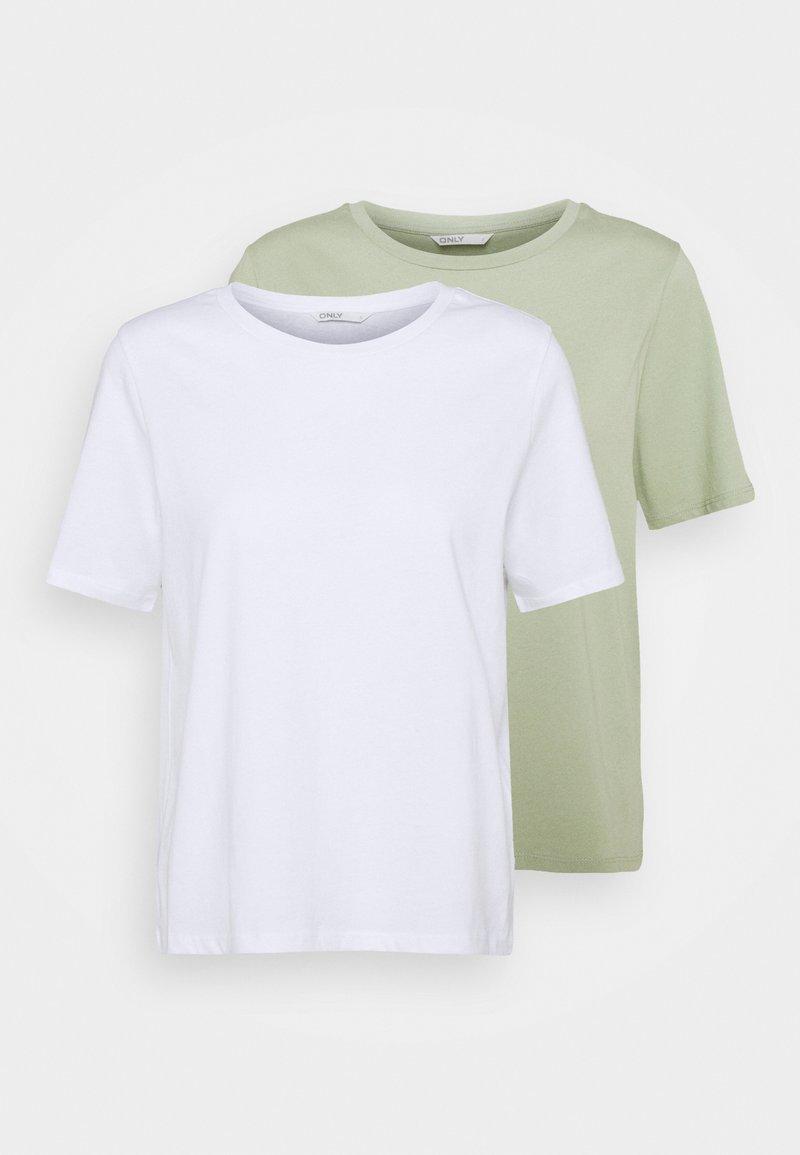 ONLY Petite - ONLONLY LIFE 2 PACK  - Print T-shirt - white/desert sage