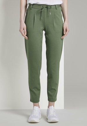 KNITTED TRACK PANTS - Trousers - dull moss green
