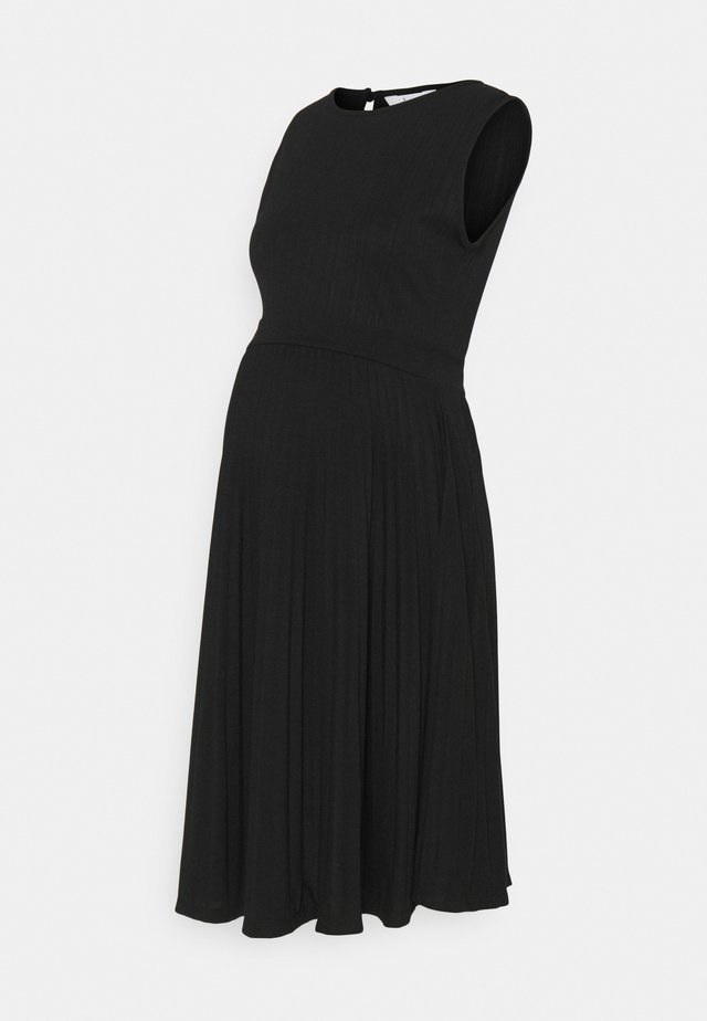 KNIFE PLEAT DRESS ROUND NECK - Jerseykjoler - black