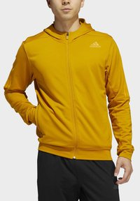 adidas Performance - AEROREADY 3-STRIPES COLD WEATHER KNIT HOODIE - Sudadera con cremallera - gold - 4