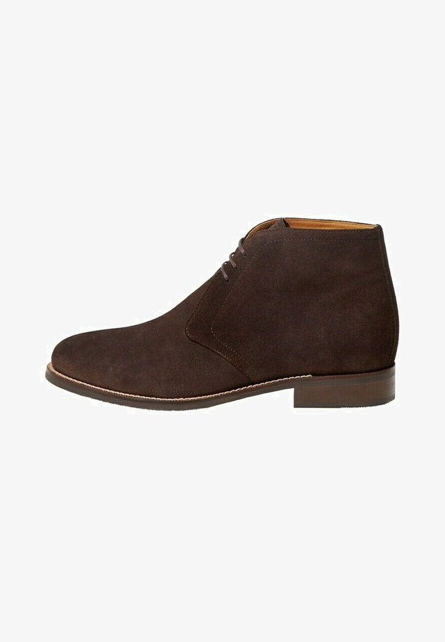 Lace-up ankle boots - marron