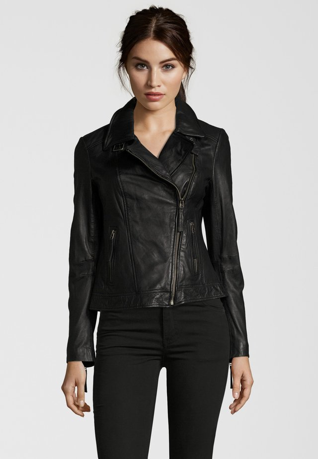 MIT LÄSSIGEM UMSCHLAGKRAGEN, - Leather jacket - black