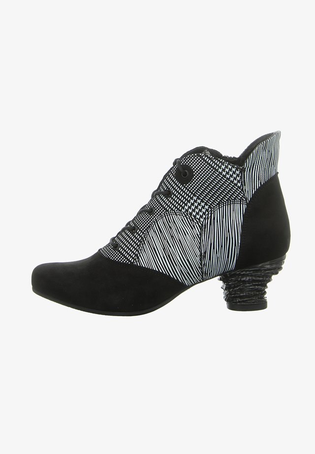 Lace-up ankle boots - schwarz weiss