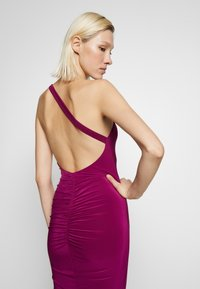 Club L London - ONE SHOULDER RUCHED BUM MIDI DRESS - Cocktail dress / Party dress - berry - 6