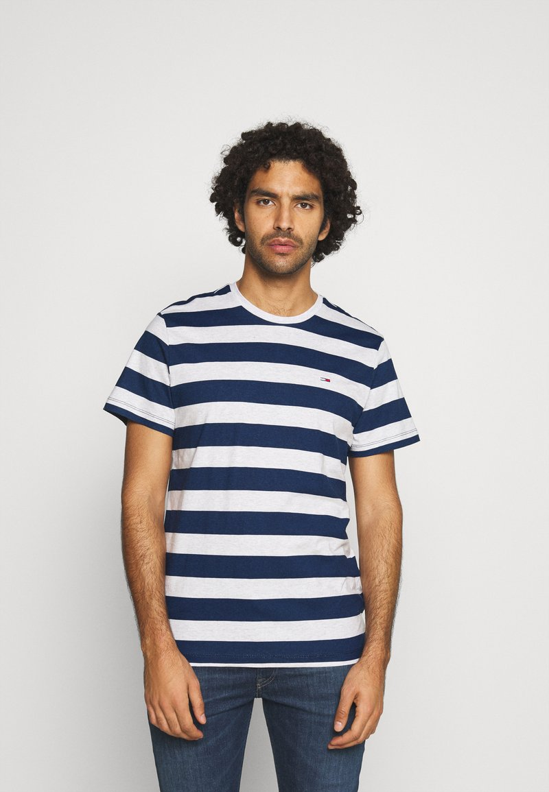 Tommy Jeans - HEATHER STRIPE TEE - Print T-shirt - twilight navy