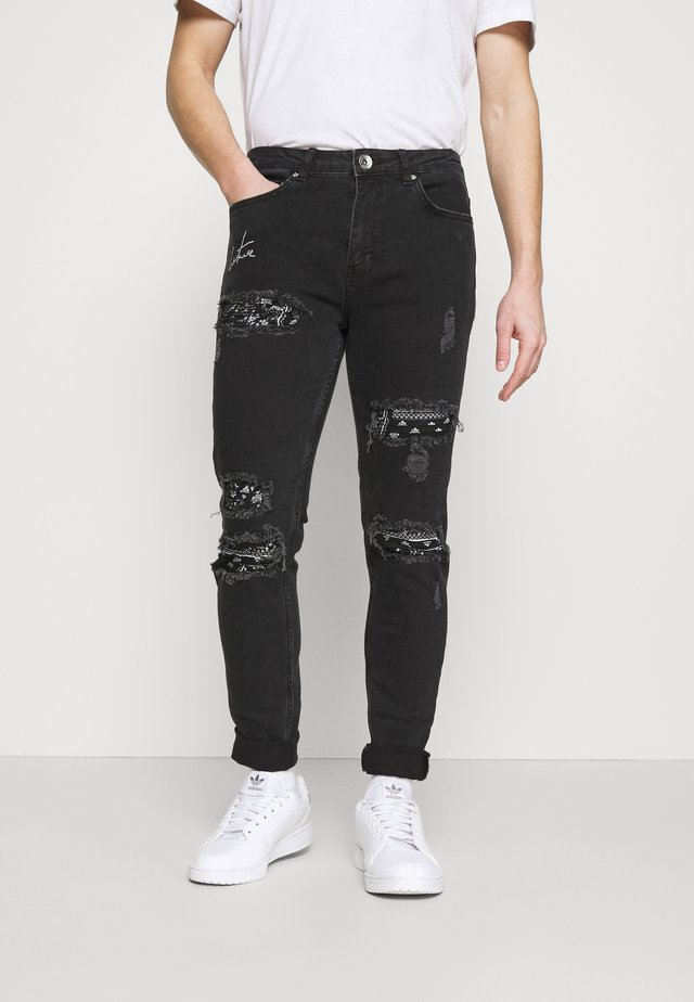 BIKER BANDANA PATCH - Jeans Skinny Fit - black