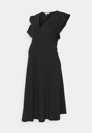 RIVA BUTTON THROUGH DRESS - Robe en jersey - black