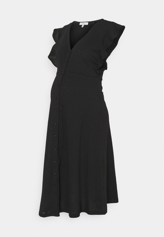 RIVA BUTTON THROUGH DRESS - Jerseykjoler - black
