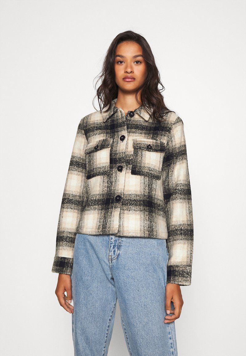 ONLY - ONLLOU CHECK JACKET - Summer jacket - pumice stone/black