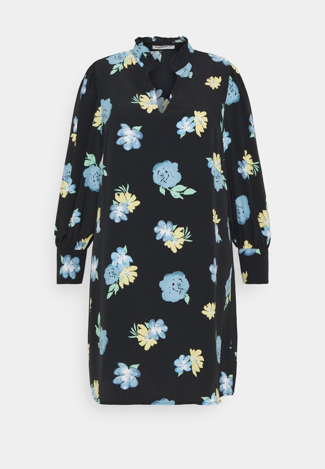 GATHERED DRESS WITH PUFF LONG SLEEVES - Day dress - black