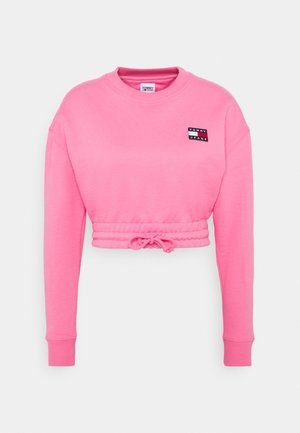 SUPER CROPPED BADGE CREW - Jumper - pink daisy