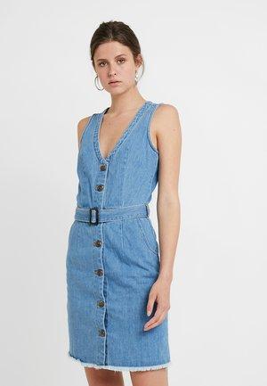 BELTED BUTTON THROUGH DRESS - Denim dress - stonewash