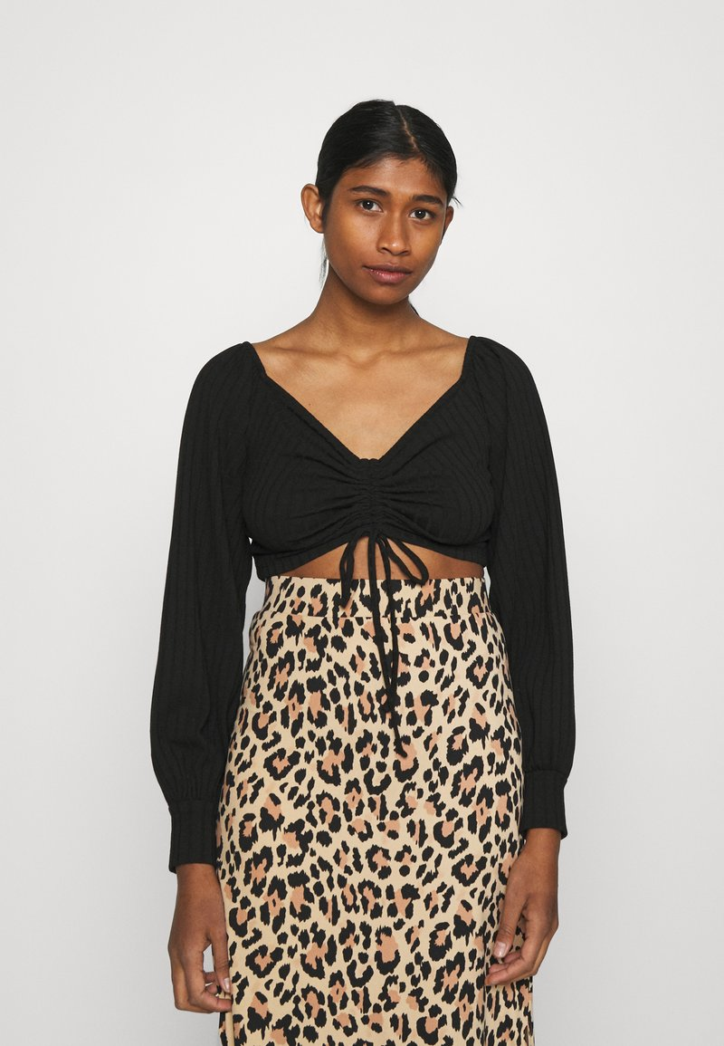 Nly by Nelly - LUXURIOUS DRAWSTRING - Long sleeved top - black