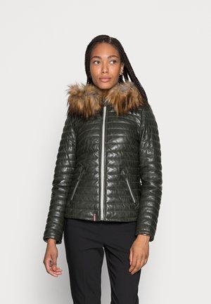 FURY  - Leather jacket - dark green