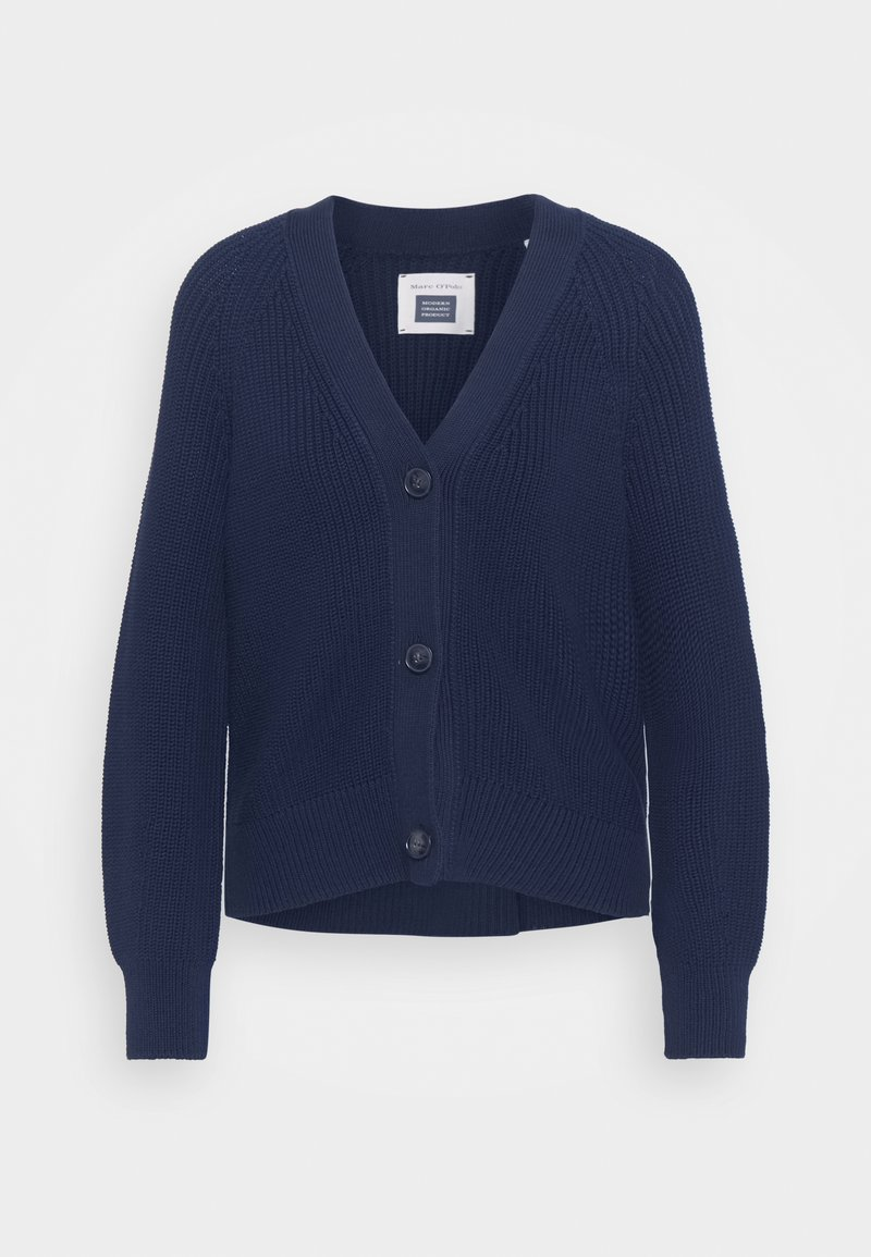 Marc O'Polo - CARDIGAN LONGSLEEVE V NECK BUTTON CLOSURE - Cardigan - night sky