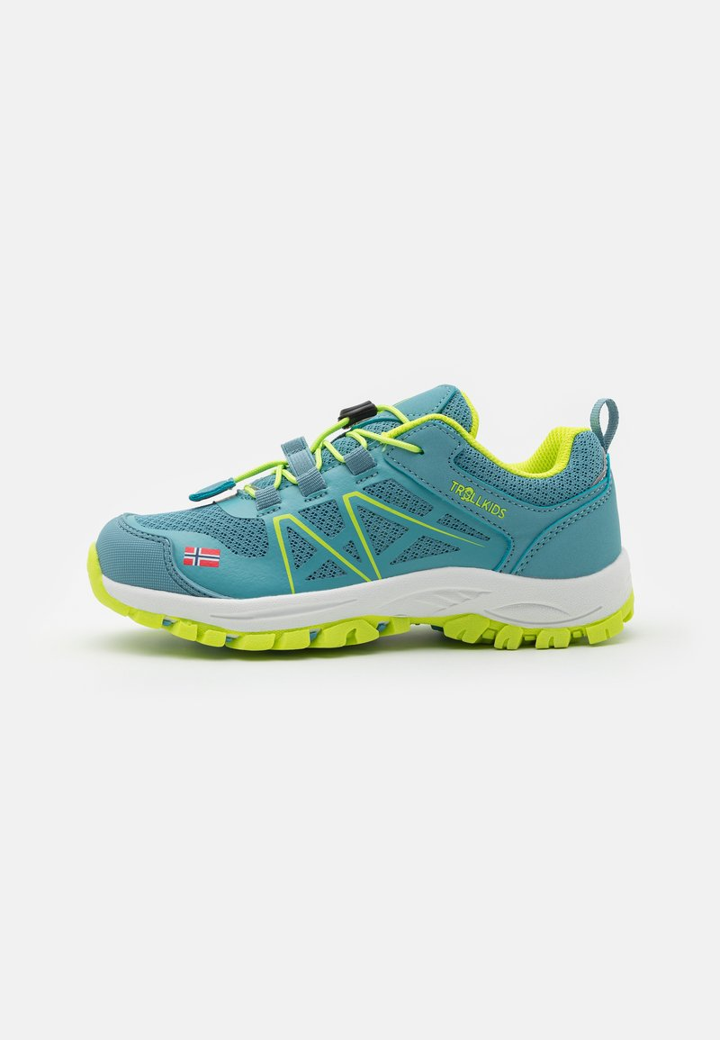 TrollKids - KIDS SANDEFJORD LOW UNISEX - Hiking shoes - dolphin blue/lime
