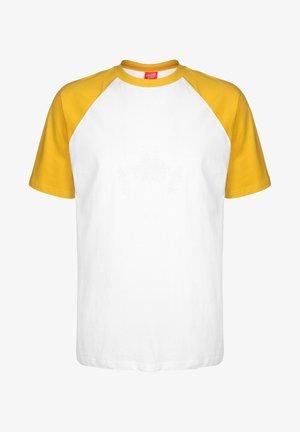 OPUS DOT CUT & SEW - Print T-shirt - mustard/white