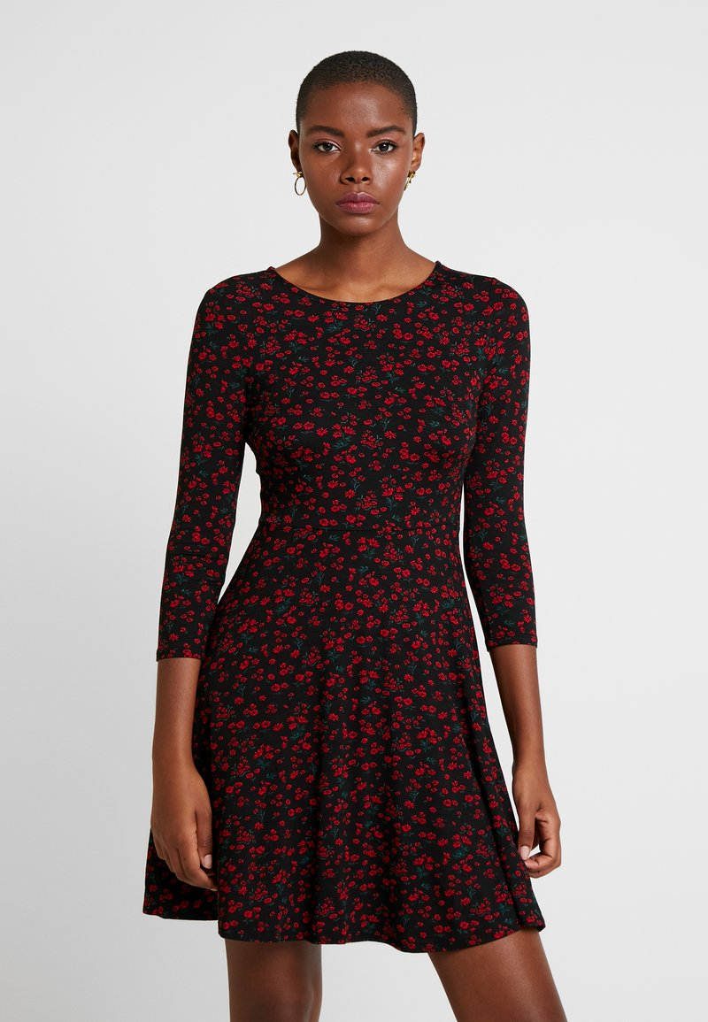 Dorothy Perkins - DITSY FLORAL FIT FLARE - Jerseykjoler - red
