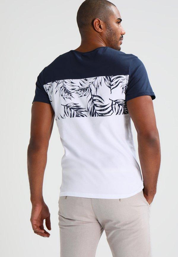 Pier One T-shirt z nadrukiem - navy/white/granatowy Odzież Męska DXRD