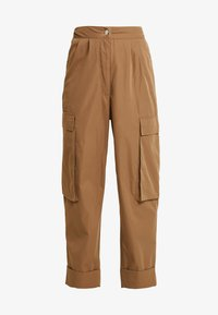 Missguided Petite - PLEAT FRONT TURN UP HEM CARGO TROUSER - Cargo trousers - tan - 5