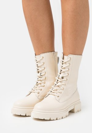 LEATHER - Platform ankle boots - offwhite