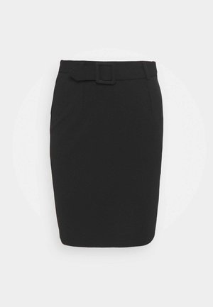 Mini pencil bodycon skirt with belt - Minijupe - black