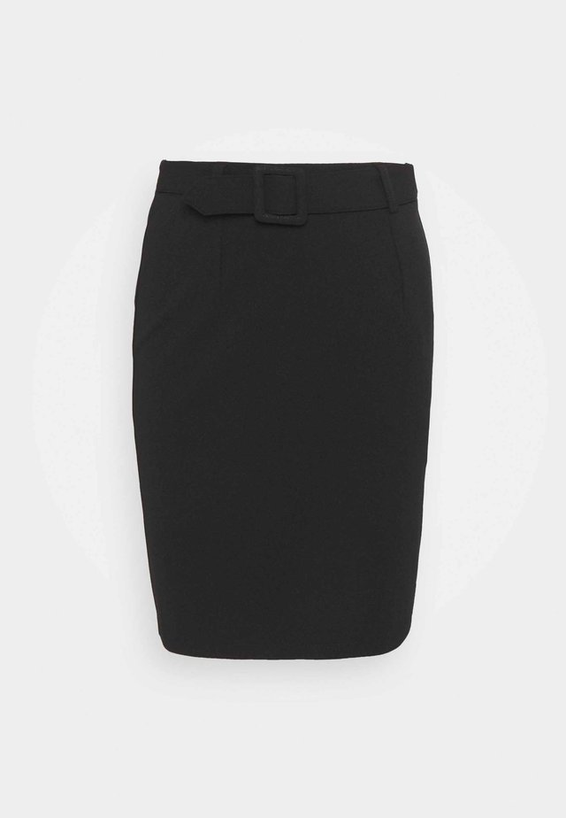 Mini pencil bodycon skirt with belt - Mini skirt - black