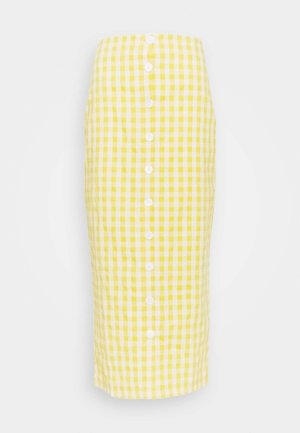 PALOMA GINGHAM BUTTON DOWN MIDI SKIRT - Pouzdrová sukně - yellow