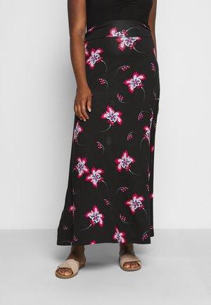 PRINT SKIRT - Maxi skirt - black/burg