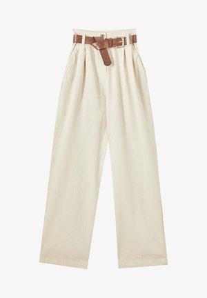 MIT HOHEM BUND - Trousers - beige