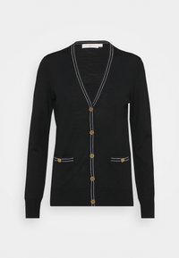 Tory Burch - COLOR BLOCK MADELINE CARDIGAN - Cardigan - black/medium navy - 0