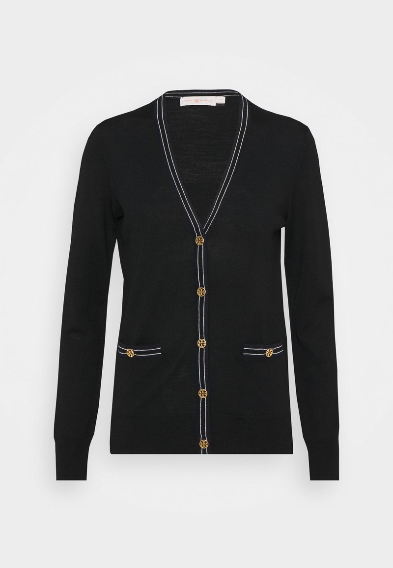 Tory Burch - COLOR BLOCK MADELINE CARDIGAN - Cardigan - black/medium navy