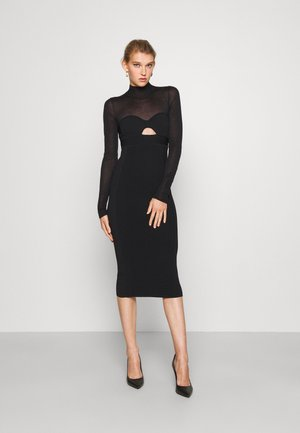 LONG SLEEVE CORSET DRESS - Pletené šaty - black