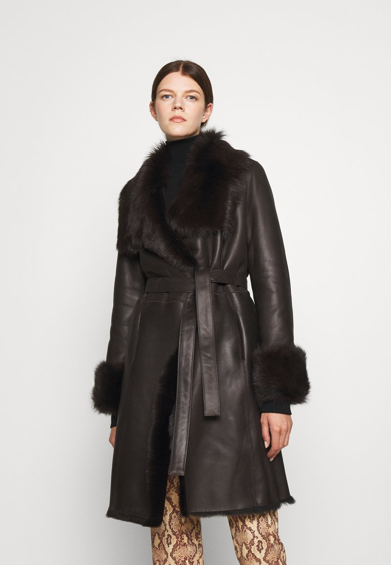 STUDIO ID - FLO COAT - Leather jacket - chocolate