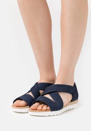 Sandalen met sleehak - navy