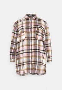 Missguided Plus - OVERSIZED SHIRT DRESS BRUSHED CHECK - Skjortekjole - pink - 4