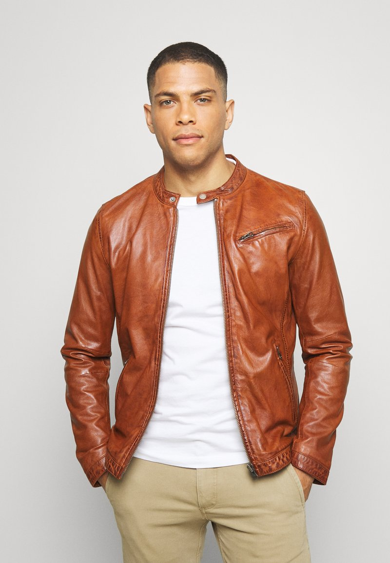 Freaky Nation - EASY JIM - Leather jacket - cognac
