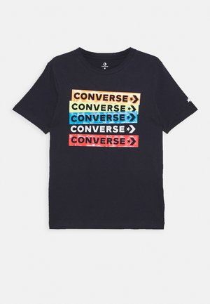 COLOURBLOCKED LOGO TEE - Camiseta estampada - obsidian/blue