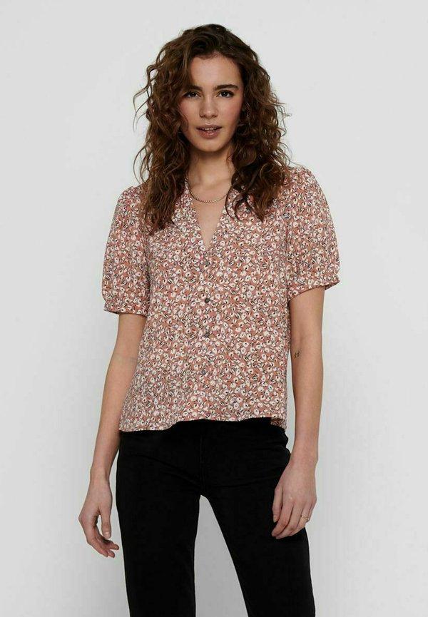 ONLY KURZÄRMELIG - Koszula - cameo brown/jasnobrązowy QCZH