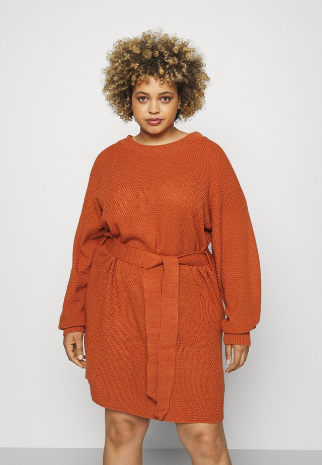 DRESS WITH ROUND NECKLINE PUFF LONG SLEEVES AND TIE BELT - Abito in maglia - coffee