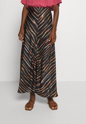 SKIRT LENGHT SLIT - Maxi skirt - multi/black