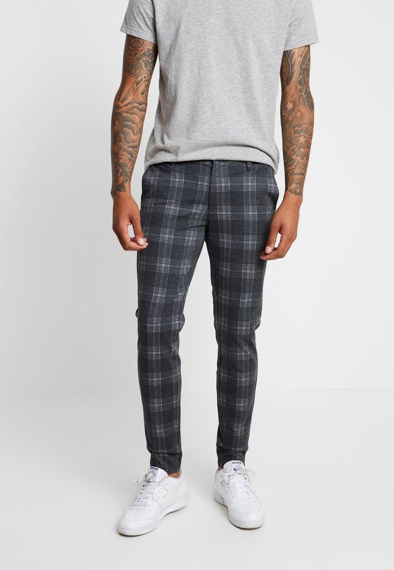 Only & Sons - ONSMARK PANT CHECK - Trousers - dark grey melange
