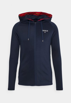 INSET CROWN ZIP THROUGH HOODIE - Giacca sportiva - navy/red