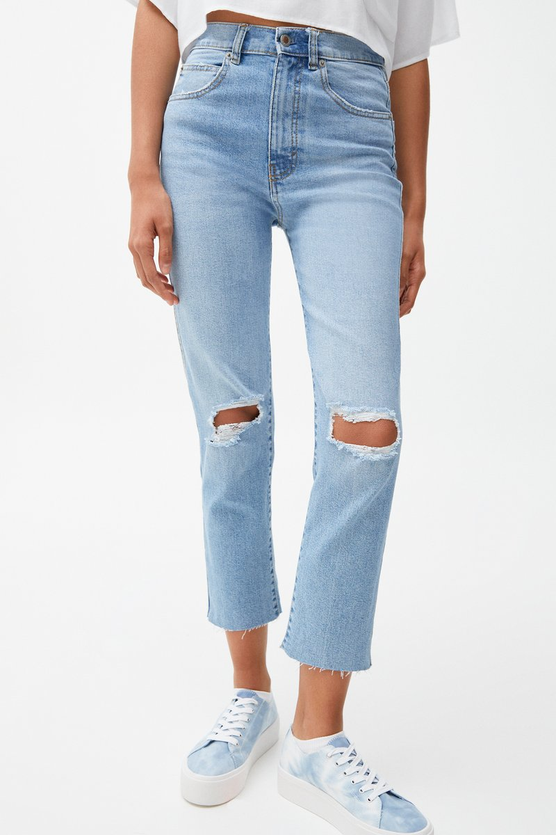 PULL&BEAR - MIT RISSEN - Jeansy Relaxed Fit - blue