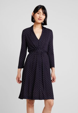POLKA DOT DRESS - Jersey dress - dark blue/white