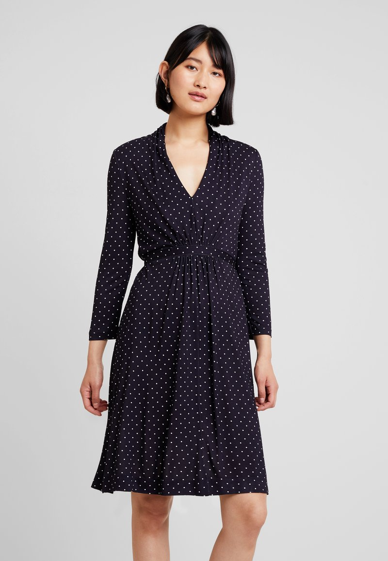 French Connection - POLKA DOT DRESS - Jersey dress - dark blue/white