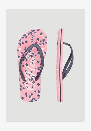 Teenslippers - pink aop w/ blue