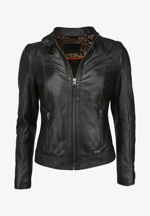 MIT STEHKRAGEN  - Leather jacket - black