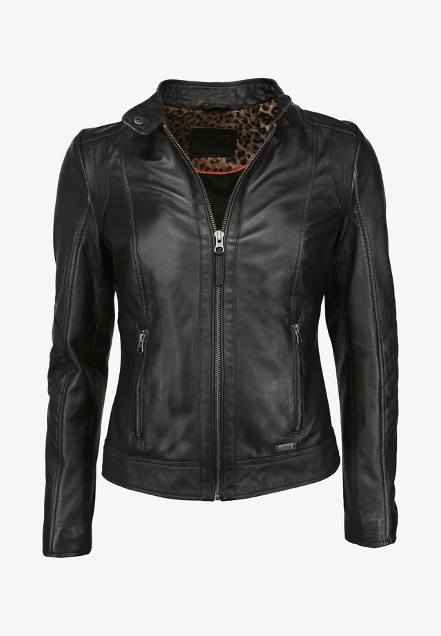 MIT STEHKRAGEN  - Leren jas - black