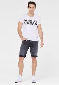 Harlem Soul - Denim shorts - blue black used - 1